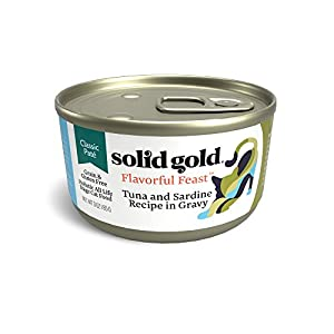 Solid Gold Pate In Gravy Wet Cat Food; Flavorful Feast With Real Tuna & Sardine (Formally Evening Tide), 24 Ct/3Oz 112