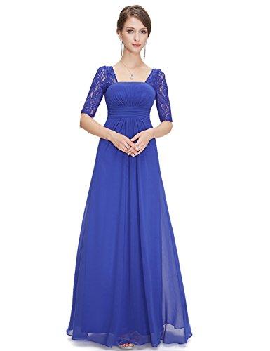 Elegante Pretty Noche Zafiro de de Azul de Medias Vestido largas 08038 Mangas Fiesta Mujer Encaje con Ever para qIxTdd