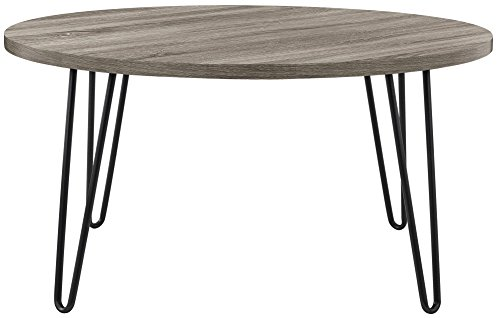 Owen Retro Round Coffee Table, Weathered Oak