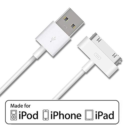 iPad 2 Cable, iPhone 4s Cable, 30-Pin USB Charging and Cable Sync Dock Connector Data Cable for iPhone 4/ 4s, iPhone 3G/3G, iPad 3/2/ 1,iPod Classic iPod Touch iPod Nano (3.2Feet)