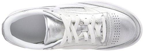 C white Shine Donna Da S 85 silver Basse Reebok Club Argento Ginnastica Scarpe H7Sq546w