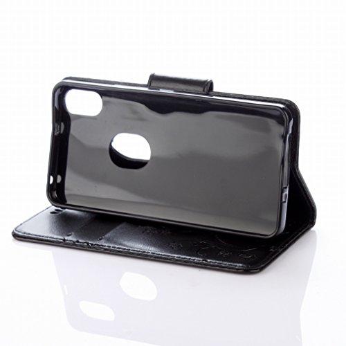 LEMORRY BQ Aquaris X5 Plus Hülle Tasche Ledertasche Flip Beutel Haut Slim Fit Bumper Schutz Magnetisch Schließung Stehening Soft SchutzHülle Weich Silikon Cover Case Schale für BQ Aquaris X5 Plus, Glü Schwarz