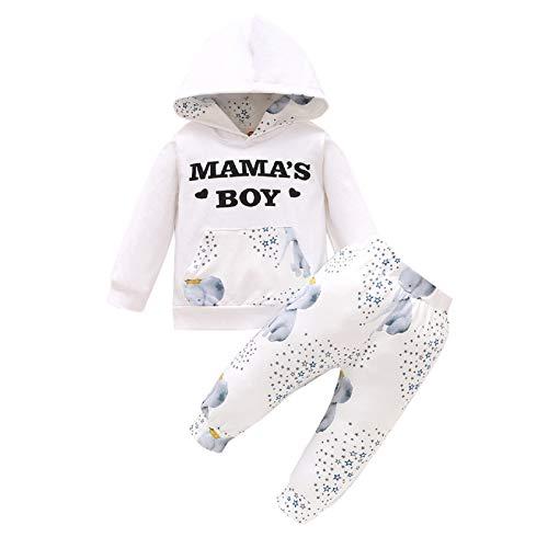 2 Stks Pasgeboren Baby Boy Kleding Outfits Herfst Katoen Engels Afdrukken Lange Mouw Capuchon + Broek
