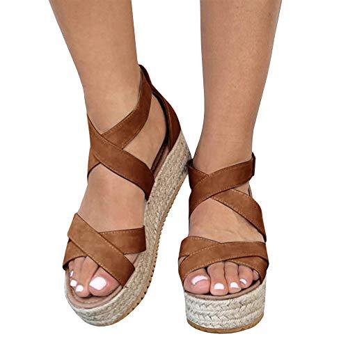 Suede Criss Cross - Athlefit Women's Criss Cross Strap Platform Sandals Band Open Toe Ankle Buckle Espadrille Sandals Size 9.5 Brown