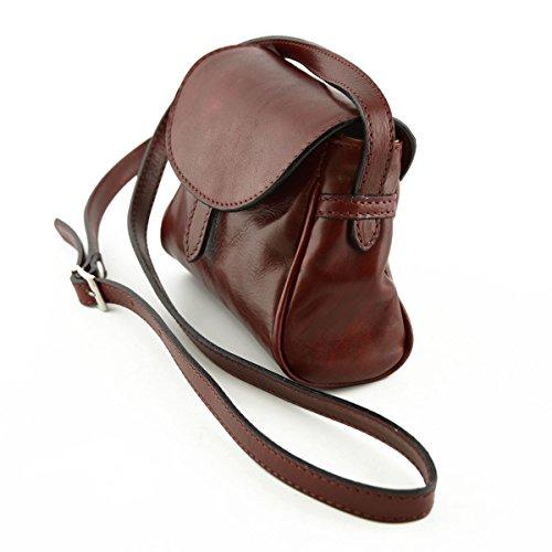 Mini Schultertasche Aus Leder Für Damen Farbe Rot - Italienische Lederwaren - Damentasche