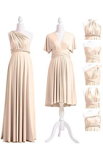 72STYLES Champagne Infinity Dress with Bandeau, Convertible Dress, Bridesmaid Dress, Long,Short, Plus Size, Multi-Way Dress, Twist Wrap - Dress Maternity Wrap Jersey