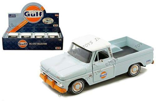 Motormax 1: 24ディスプレイ - Gulf - 1966 シボレー C10 フリートサイド ピックアップライト ブルー/ホワイト トップ リテールボックスなし B07HDJTXBJ