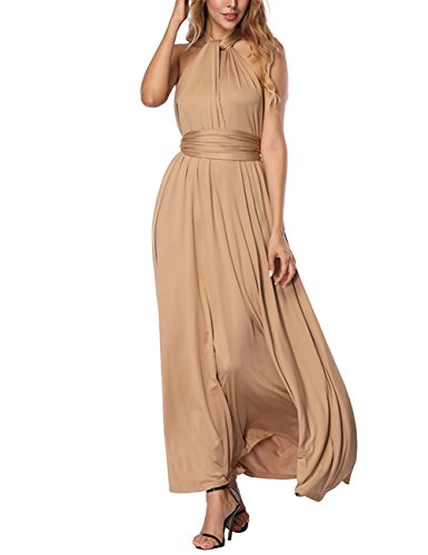 Long Ball Dresses - DANALA Women Formal Dress Wedding Bridesmaid Long Ball Prom Gown Cocktail Dress Khaki