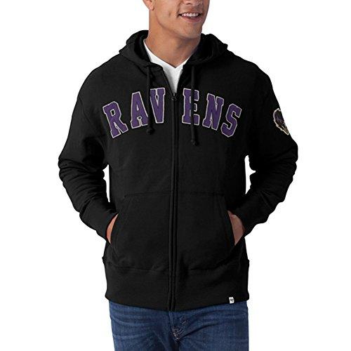 NFL Baltimore Ravens Men's Striker Full Zip Hoodie, Jet Black, Large Light Twill Assortment