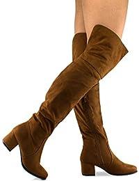 Women's Over The Knee Stretch Boot - Trendy Low Block Heel Shoe - Sexy Over The Knee Boot - Easy Heel Boot