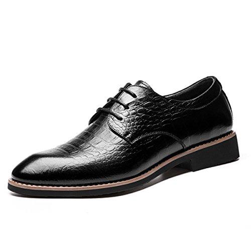 GRRONG Chaussures En Cuir Pour Hommes Pointu Robe En Cuir Véritable Formel Noir Brun Black VJAiM2l8Qr