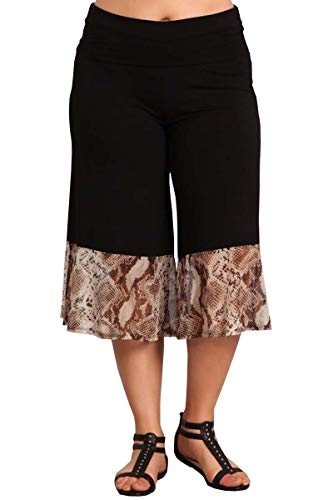HEYHUN Plus Size Women's Solid Wide Leg Flared Capri Boho Gaucho Pants w/Lace Detail - Snakeskin - 3XL
