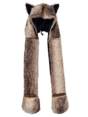 Full Animal Hood Hoodie Hat Cap with Paw Mittens Gloves Faux Fur 3 in 1,Wolf (Bear Hood With Paw Scarf)