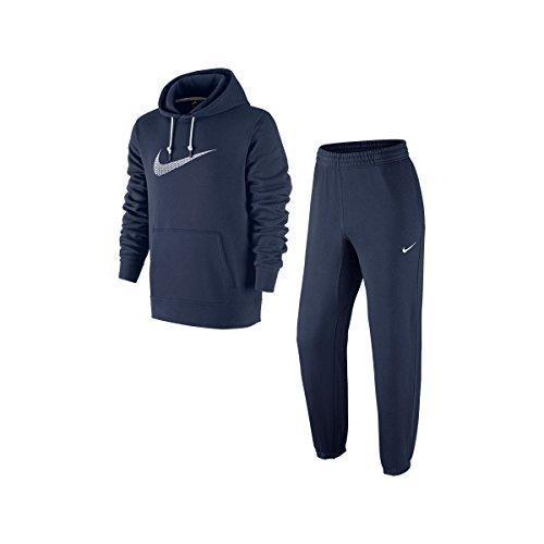 Nike Tracksuit Fleece Jog Suit Club Swoosh Hooded Black/G...