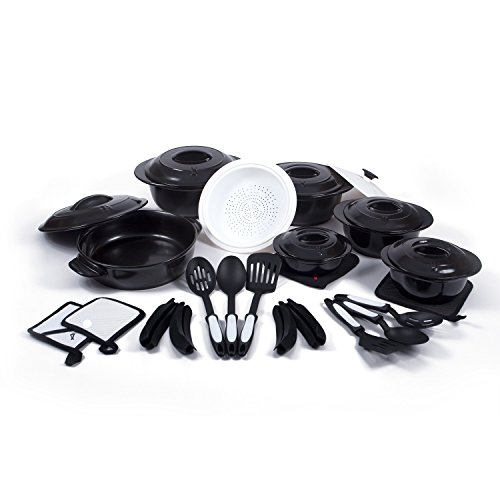 Xtrema All Natural 100% Ceramic Signature 28 Piece Cookware / Skillet / Sauce Pan Set (Midnight Black)