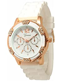Womens White Rose Gold Chronograph Silicone with Crystal Rhinestones Bezel
