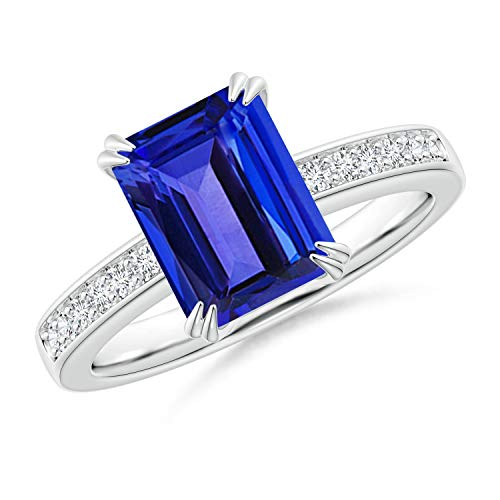 (Octagonal Tanzanite Cocktail Ring with Diamonds in 14K White Gold (9x7mm Tanzanite))