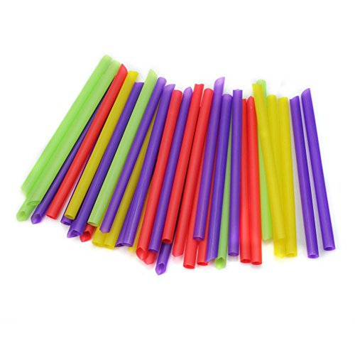 100pcs Plastic Colorful Jumbo Large Drinking Straws Disposable Bubble Pearls Tea Drink Straw Home Party Cocktail Bar (Gamecube Pearl White)