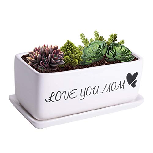 Vencer Thanksgiving Day Gift – Love You Mom – Gift for Mom -10 Inch Rectangular Modern Minimalist Ceramic Succulent Planter,Cute Planter,Succulent Planting,Small Potted Plants,VF-153