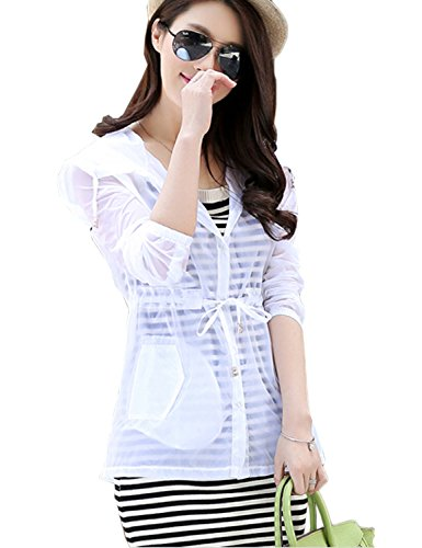 Only Faith Women Summer Transparent UV Protection Waterproof Quick Dry Clothing Hooded Jacket (XL, white)