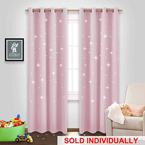 NICETOWN Curtains for Kids Room Girl - Die-Cut Star Blackout Drape Panel Window Treatment Drapery for Space Theme Room (Lavender Pink=Baby Pink, Sold Individually, 52