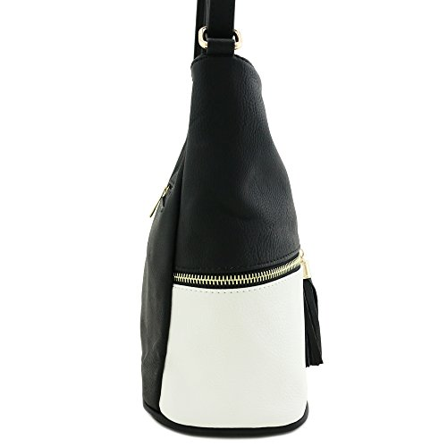 Zipper Bag Black Bucket Crossbody Tassel White HqwzOOd