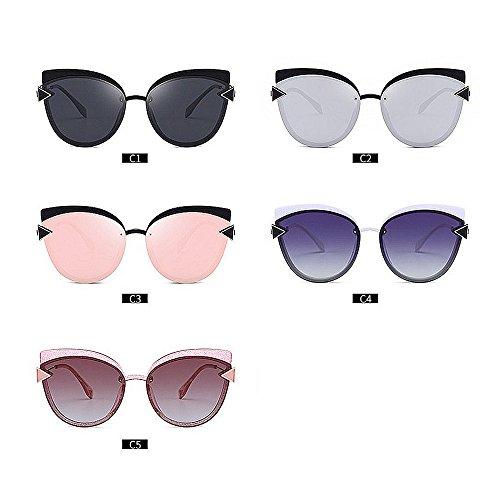 Triángulo polarizadas C5 Vacaciones Color Decoración Sol Ojos Conducción C2 de Gu Gafas Mujeres al Libre para Protección de Playa Aire Peggy la Exquisito para UV Gato qvwt51xnSn
