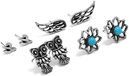 GLJIJID Pendientes De Perlas De Piedras Preciosas De La Personalidad Creativa, Joyas De Moda Retro Antiguas De Plata.