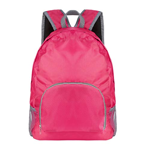 Pulison Unisex Sports Backpack Hiking Climbing Gym Outdoor Rucksack for Mens Womens Students School Bags Satchel Bag Handbag Casual Daybag Laptop Packs (Hot Pink)