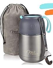 Milu® thermocontainer lunchbox 450 & 650 ml | roestvrijstalen isolatiecontainer voor warme gerechten, eten, babyvoeding, soep, fruit | container box voor baby | thermovat