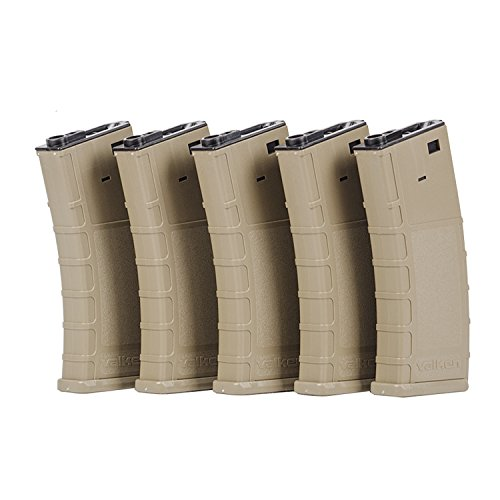 Valken Tactical Airsoft RMAG Hi Cap Thermold 300 Magazine (5 Pack), Tan