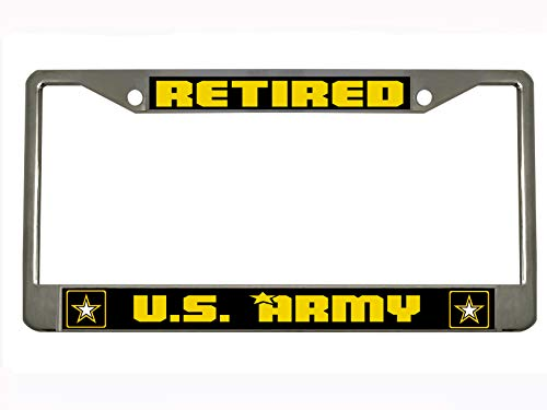 U.S. Army Retired Steel License Plate Frame Tag Holder - Army Retired Plate License