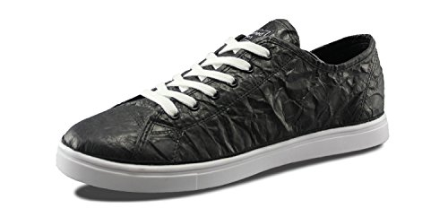 Mensili Scuciture Mens Next Day Low Design Tyvek Fashion Sneakers Nero / Bianco