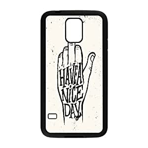 Samsung Galaxy S5 Cases Kawaii Typography Have A Nice Day Middle Finger, Funny Saying Cell Phone Case For Samsung Galaxy S5 Mini [Black]