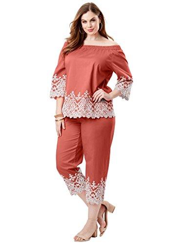 Roamans Womens Pant Suit - Roamans Women's Plus Size Embroidered Pantset - Dusty Coral, 16 W