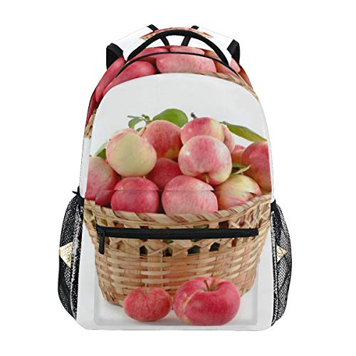 Red Apples Basket School Backpack Large Capacity Canvas Rucksack Satchel Casual Travel Daypack for Children Adult Teen Women Men