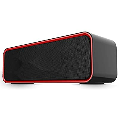 Portable Wireless Bluetooth Speaker FM Radio MP3 Player,10 Play Hour 2200mAh Battery, Hands-Free Calling Built-In Mic, Micro TF SD Card, USB Input, AUX Line-In, Powerful Dual 5W Audio Driver - Black