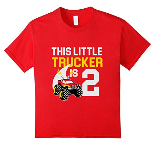 Kids 2nd Birthday Boys Monster Truck T-Shirt Cool 2 Year Old 4 Red