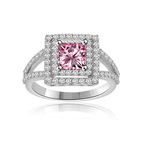 14k White Gold Over 1.00 Ct Princess Cut Pink Sapphire an...