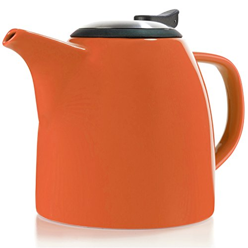 Tealyra - Drago Ceramic Teapot - 37oz (4-6 cups) - Large Stylish Teapot with Stainless Steel Lid and Extra-Fine Infuser To Brew Loose Leaf Tea - Dishwasher-safe - BPA-Free - Orange