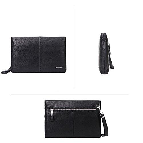 Ipad Leather Black Men Large Clutch Handbag Checkbook Black Real d Credit For Holder Wristlet Bags Business Zip Purse Card PHSnqw