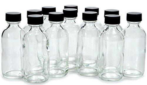 Vivaplex, 12, Clear, 2 oz Glass Bottles, with Lids (Small Glass Bottle)