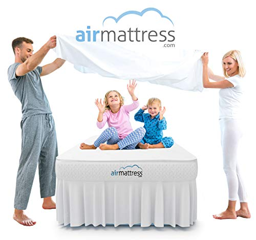 Air Mattress TWIN size - Best Choice RAISED Inflatable Bed with Fitted Sheet and Bed Skirt - Built-in High Capacity Airbed Pump by AirMattress.com