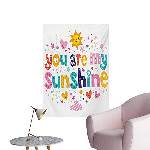 Anzhutwelve Quote Wall Sticker Decals Cute Love Text Print Made by Fun Happy Animal and Heart Figures Kids Nursery ThemeMulticolor W32 xL48 Space Poster ()