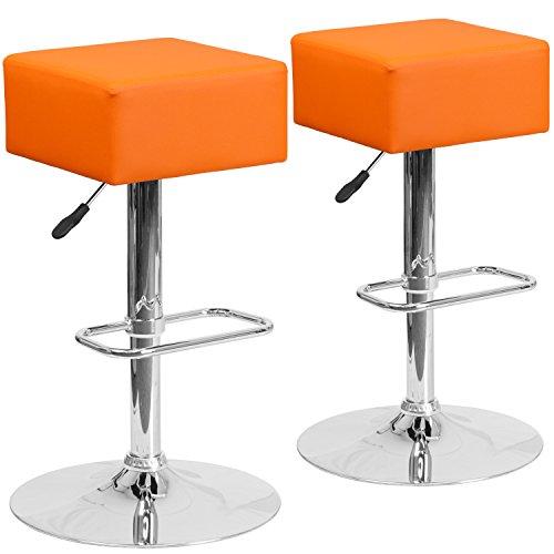 Vinyl Square Bar Stools (Flash Furniture 2 Pk. Contemporary Orange Vinyl Adjustable Height Barstool with Chrome Base)