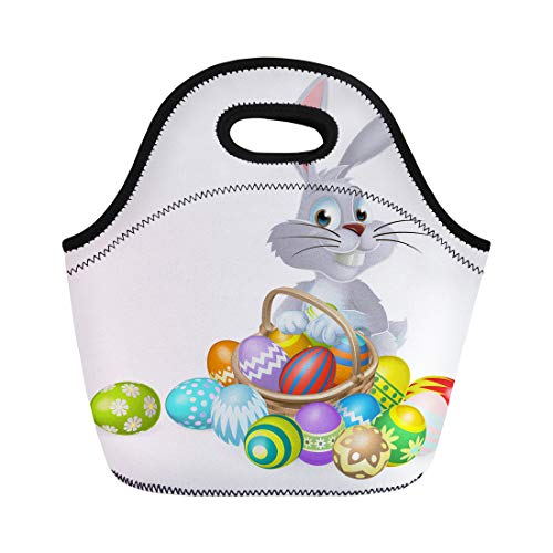 Semtomn Neoprene Lunch Tote Bag Colorful Easter Bunny White Rabbit Basket of Chocolate Eggs Reusable Cooler Bags Insulated Thermal Picnic Handbag for Travel,School,Outdoors,Work