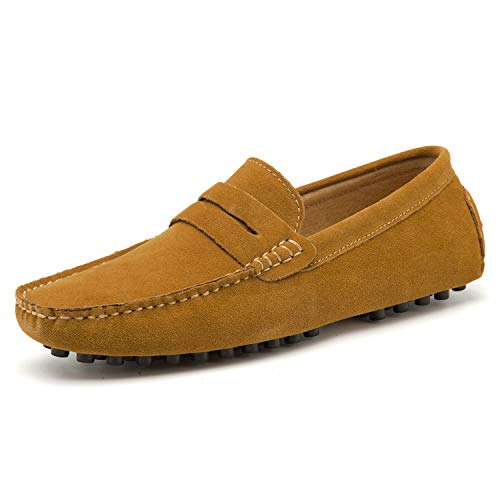 Go Tour Men's Penny Loafers Moccasin Driving Shoes Slip On Flats Boat Shoes Brown 14/50