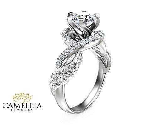 Forever Brilliant Moissanite Ring 14K White Gold Wedding Ring Leaf Design Custom Ring with Natural Side Diamonds Nature Inspired Engagement Ring Unique Alternative Bridal Ring