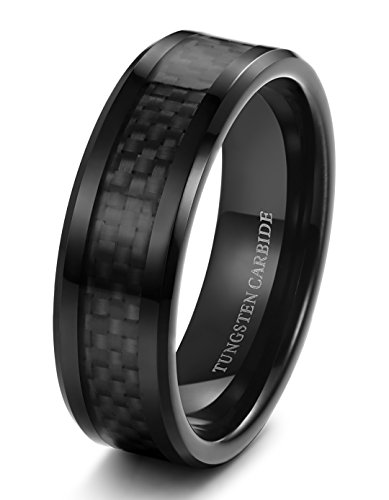 Tungary 8mm Mens Tungsten Carbide Wedding Band Engagement Black Carbon Fiber Beveled Edges Size 12 - Edge Solid Tungsten Carbide Ring