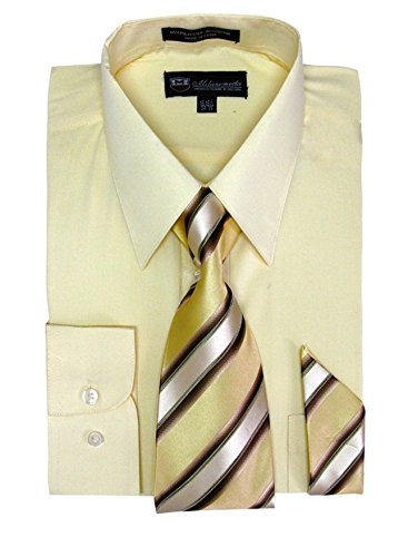 (Milano Moda Men's Long Sleeve Dress Shirt With Matching Tie And Handkie SG21A-Canary-16-16)